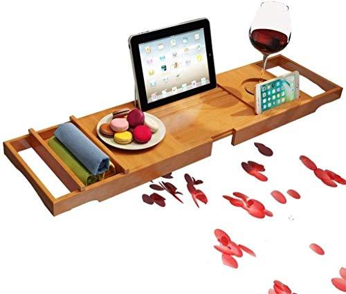 Bamboe Badkuip Caddy Bad Badkuip Lade Brug Douche Planken Organizer Lade Uitbreiding Zijden Ingebouwde Boek Tablet Geïntegreerde Wijnglas Houder Telefoon Lade