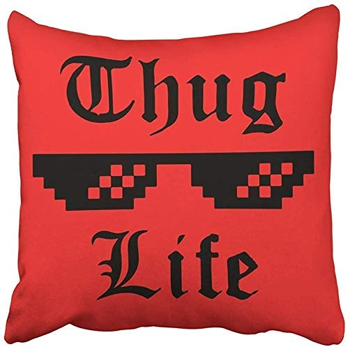 Doble Cojines Fundas 18' Negro Thug Life Gafas Meme Pegatina Apliques Etiqueta de Ropa Jeans Ropa Casual Rojo Funda de Almohada Suave para la Piel