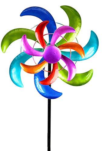 dekojohnson - Molinillo de viento para el jardín de metal, con compartimentos de metal, molino de viento doble, lila/azul/rojo/verde, 110 cm, grande