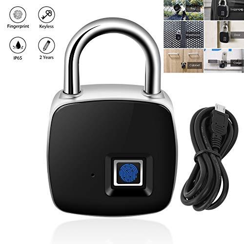 Oumij Sleutelloos slot, IP65 waterdicht, 10 sets vingerafdrukken, hangslot met vingerafdrukken, USB-oplaadbaar, diefstalbeveiliging, hangslot, voor huisdeur, rugzak, koffer/magazijn, fiets