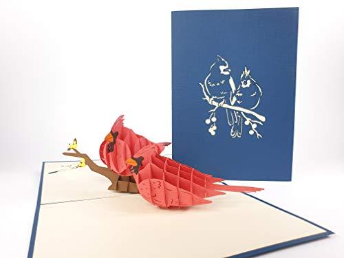 3D Kaarten Schattige vogels zitten op een tak Verjaardagskaart verjaardag wensen verjaardagskaart naamdag kaart groeten kaart Gelukkige verjaardag 3D pop-up wenskaart, Kirigami Paper Craft PostCards, Dank u pop-up wenskaart