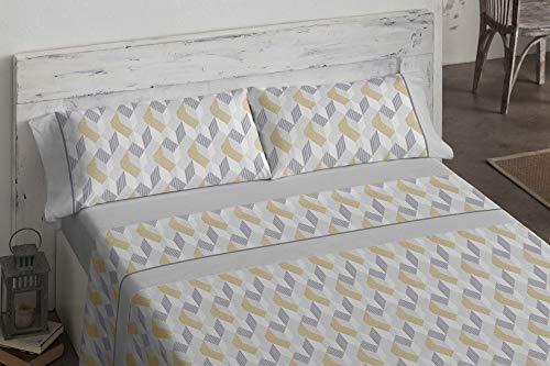 Burrito Blanco Juego de Sábanas 479 con un Diseño de Geométrico en Diferentes Tonalidades para Cama de Matrimonio de 135x190 hasta 135x200 cm/Juego de Cama 135, Color Gris