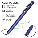 iPad Stift, Stylus Stift für iPad, Kapazitiver Wiederaufladbare Stift für All iPad/iPhone/iPad Pro/iPhone X mit 4 Ersetzbar Feine Gummi Spitze, Digitaler Stift Speziell für iPad-Serie (Blau)