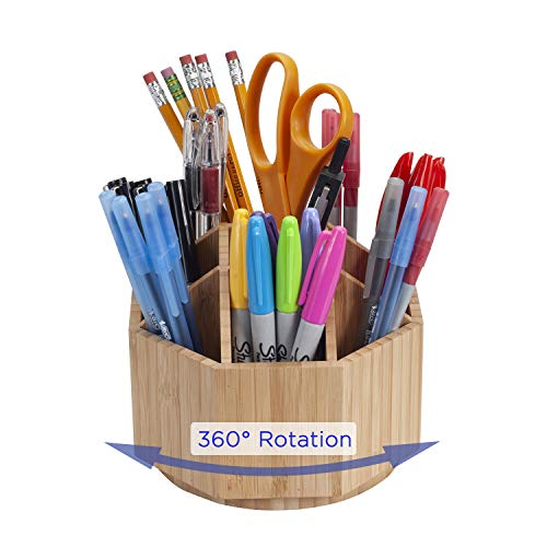 MobileVision Bamboo Rotating Office & Art Supply Organizer Multiple Compartments, 9 Sections for Pens, Pencils, Highlighters, Markers, Scissors, Accessories & More