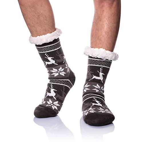 DoSmart Men's Winter Non-Skid Knit Slipper Socks Indoor Floor Stocking Shoes Home...