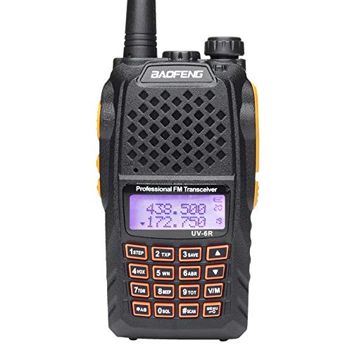 Mengshen® Baofeng UV-6R Walkie Talkie Two Way Radio Dual-Band Transmisor Mejor Que UV-5R VHF UHF FM 136-174/400-520MHz Potencia Alta 5W/1W Up to 128 Chanales Built-in VOX Función + Auricular