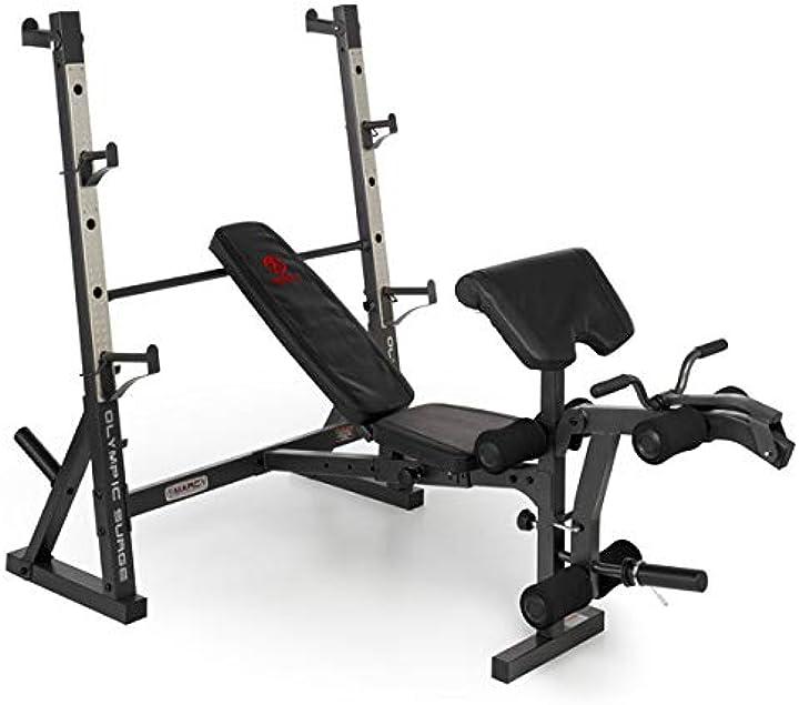 Panca piana  multifunzione marcy banco olímpico md857 B07YVHYWND- allenamento gambe braccia pettorali