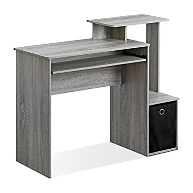 Furinno 12095GYW Econ Multipurpose Home Office Computer Writing Desk with Bin, French Oak Grey