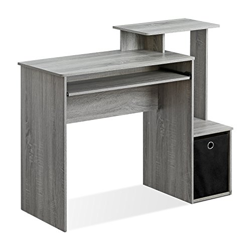 FURINNO Econ Multipurpose Home Office Computer Writing Desk, French Oak Grey & Andrey End Table Nightstand with Bin Drawer, 1-Pack, French Oak Grey
