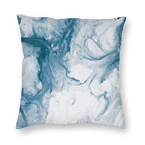 Fundas de almohada de mármol azul moderno decorativo 45,7 x 45,7 cm blanco y azul funda de almohada para sala de estar, suave y sólida funda de cojín para sofá dormitorio