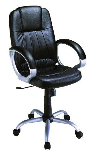 STANFORD Silla giratoria para estudio despacho o escritorio con ruedas, ideal para teletrabajo.Silla de oficina giratoria con gas cromada,polipiel negra imitación cuero y mecanismo basculante