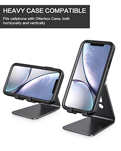 Adjustable Cell Phone Stand, OMOTON Aluminum Desktop Cellphone Stand with Anti-Slip Base and Convenient Charging Port… 2 41AQ8wa9ztL