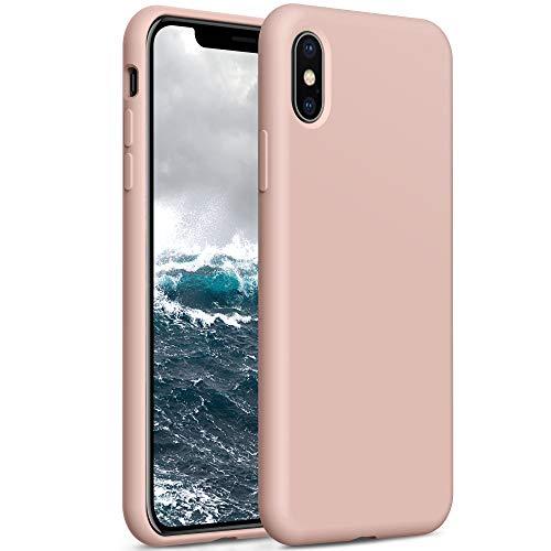 YATWIN Compatibile con Cover iPhone X 5,8'', Compatibile con Cover iPhone XS Silicone Liquido, Protezione Completa del Corpo con Fodera in Microfibra, Rosa Sabbia