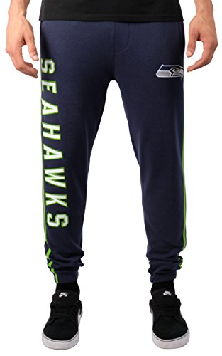 Ultra Game Men's NFL Jogger Pants Active Basic Fleece Sweatpants, Seattle Seahawks, Team Color Stripe, X-Large