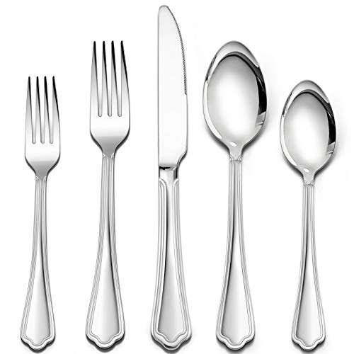 40 Pieces Silverware Set with Scalloped Edges, HaWare Stainless Steel Timeless Classic Flatware Eating Utensils, Elegant Design for Home/Hotel, Mirror Polished & Dishwasher Safe