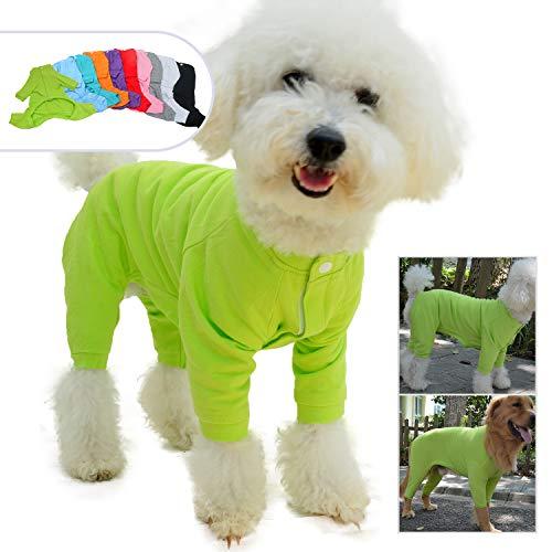 Lovelonglong Hunde-Pyjama mit 4 Füßen, aus Reiner Baumwolle, für Hunde, Einteiler, T-Shirt, stilvolles PJS Welpenkostüm für große, mittelgroße und kleine Hunde, M (Small Dog ~10 Lbs), grün