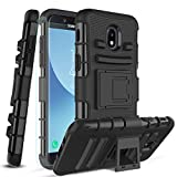 Phone Case for Samsung Galaxy J7 2018,J7 Refine,J7 Star,J7 Aero,J7 Crown, with[Tempered Glass Screen Protector][Built-in Kickstand] Full-Body Protective Case (Black)
