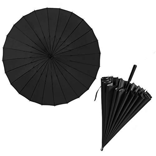 24-bone dubbellaagse paraplu met lange handgreep, vezelparaplu, zeer efficiënte windbestendigheid, UV-bescherming, aanpasbare LOGO zakelijke paraplu