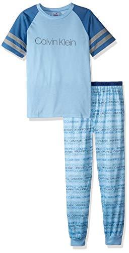 Calvin Klein Boys' 2 Piece Sleepwear Long Sleeve Top and Bottom Pajama Set Pj, Bell, Ck Blue Gray Logo, X-Large