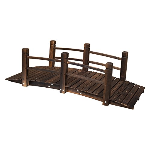 Outsunny 5 ft Wooden Garden Bridge Arc Stained Finish Footbridge with Safety Railings for Your Backyard, Stained Wood