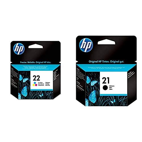 HP 22 C9352Ae Cartuccia Originale Per Stampanti A Getto Di Inchiostro, Compatibile Con Deskjet D1530, D1560 & 21 C9351Ae Cartuccia Originale, Da 190 Pagine, Compatibile Con Stampanti Deskjet D1530