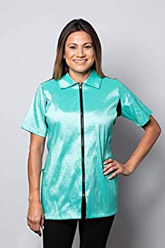 Camilla Pet Grooming Smock & Pet Grooming Jacket - Pet Haircutting Apparel - Quick Dry & Solid - No-Fade/Shrink Fabric - Prevents Snags & Less Accumulation of Hair 2 Pockets  Medium Aqua Marine