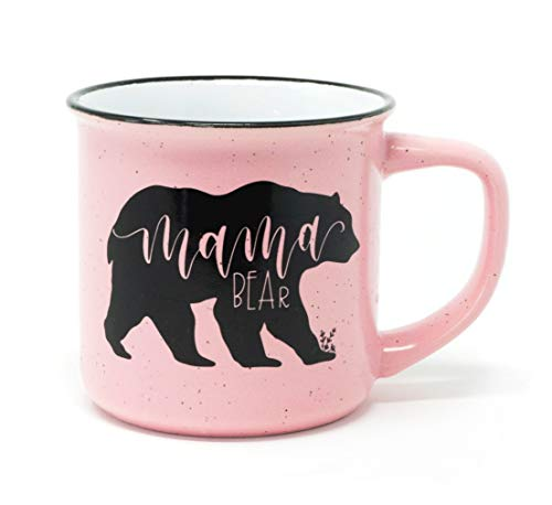 Coffee Mug, Light Pink Camping Style Ceramic Tea Cup for Mom with Cute & Funny Mama Bear Hand Lettering by June & Lucy