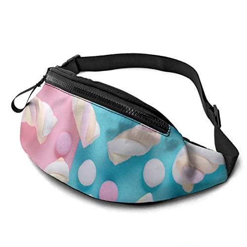 Gürteltasche wasserdichte Bunte Sweet Candy Marshmallow Fashion Hüfttasche mit Kopfhöreranschluss und verstellbaren Trägern Gürteltasche für Reisen Sport Wandern