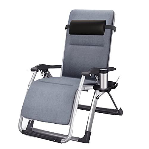 QPP-CL Patio Plegable Sillón Reclinadores, sillón de césped Ajustable con Almohadas Cuerdas de reemplazo Titulares de la Copa para Backyard Poolside Beach