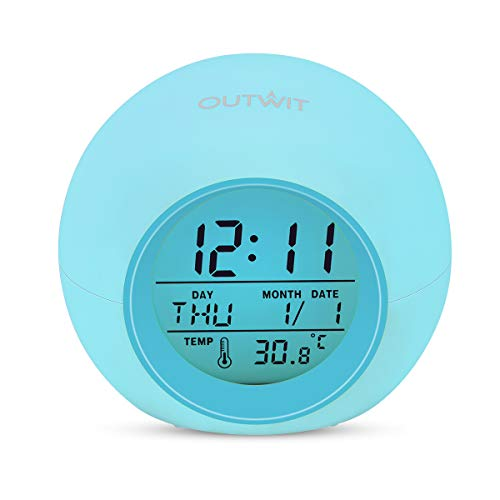 Outwit Kids Alarm Clock, Student Digital Clock for Boys Girls, 7 Colors Changing Light Bedside Clock for Children's Bedroom, Indoor Temperature Touch Control Snoozing, for Kids