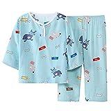 DEBAIJIA Niños Pijama 0-12T Bebé Ropa de Dormir Infantil Homewear Niña Ropa Casual Niño Animado Lindo Algodón Conjuntos (Azul-120