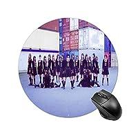 欅坂46ラウンドマウスパッド、PC ノートパソコン オフィス用 円形 デスクマット、ズされたゲーミングマウスパッド 滑り止め 耐久性が