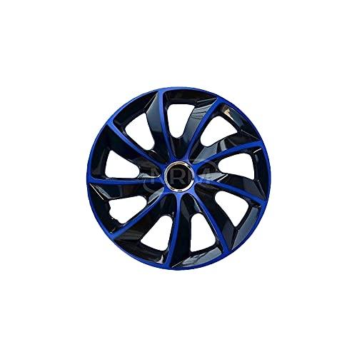 NRM Copricerchi di ruote in nero blu 15 pollici Set di 4 STIG   4x Copricerchioni universali per ruote nero blu 15'