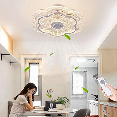 Fan Luz de techo Flor Luz de techo moderna LED con iluminación y control remoto Ventilador de techo Invisible silencioso Ventiladores regulables Lámpara de techo para dormitorio Comedor Lámpara de Fan