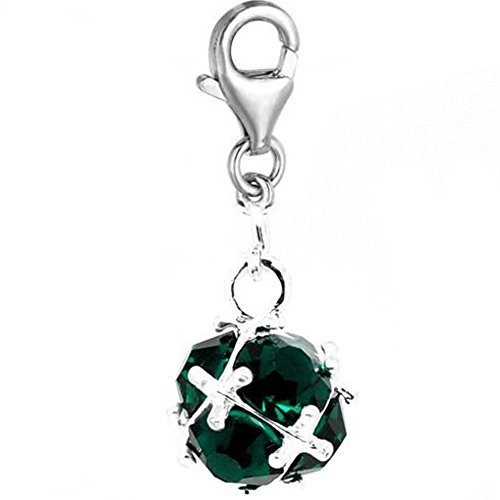 Sexy Sparkles Women's Clip On Birthstone May Emerald Dangle Charm Pendant For European Clip On Charm Jewelry W/Lobster Clasp