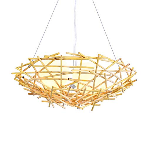Pendant Light Chandelier Lamp Rural Nest Shape Wooden Bamboo and Rattan Ceiling Lamp Hotel Restaurant Hallway Study Balcony Glass Lampshade E27.