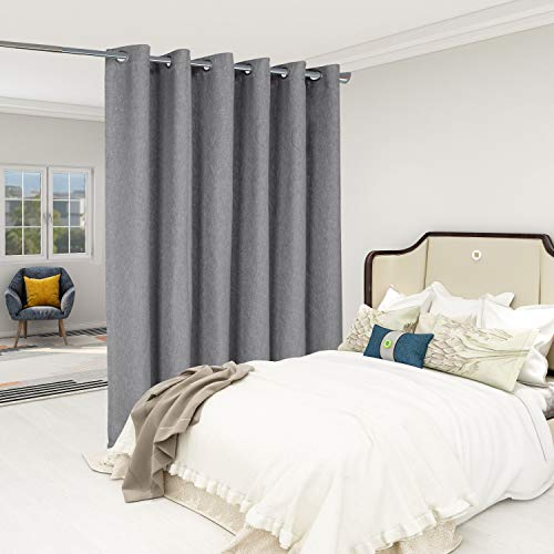 LORDTEX Burlap Linen Look Textured Room Divider Curtains - Privacy Heavy Thick Wide Grommet Window Curtains for Bedroom Living Room Patio Sliding Door, 8.3ft Wide x 8ft Tall, Grey, 1 Panel