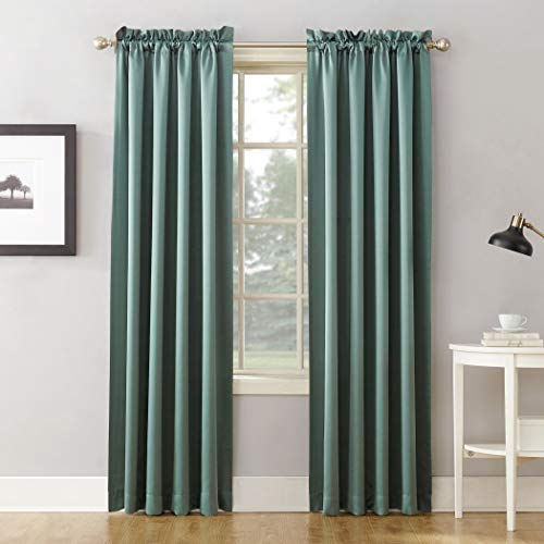 "Sun Zero Barrow Energy Efficient Rod Pocket Curtain Panel, 54"" x 84""-1, Mineral Green"