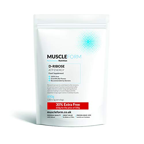 Muscleform D- Ribose ATP Fuel 100% pure powder - 30% Extra FREE - 650g re-sealable pouch for the price of 500g