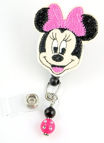 Girl Mouse Pink Bow lrg- Nurse Badge Reel - Retractable ID Badge Holder - Nurse Badge - Badge Clip - Badge Reels - Pediatric - RN - Name Badge Holder