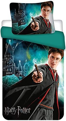 Aptex Harry Potter, biancheria da letto con stemma di Hogwarts, 2 pezzi, 135 x 200 cm, 80 x 80 cm
