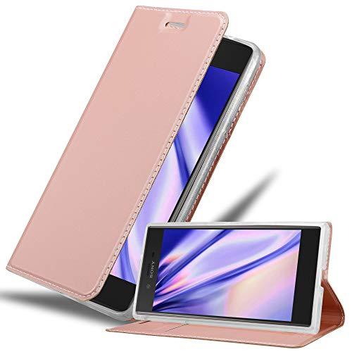 Cadorabo Hülle für Sony Xperia XZ/XZs in Classy ROSÉ Gold - Handyhülle mit Magnetverschluss, Standfunktion & Kartenfach - Hülle Cover Schutzhülle Etui Tasche Book Klapp Style