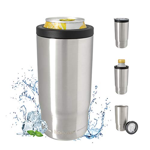 Koozie Stainless Steel Triple 3-in-1 Can Cooler, Bottle or Tumbler with Lid for 16 oz Tallboy Cans, Double Wall Vacuum Insulated for Hot and Cold Drinks | Silver