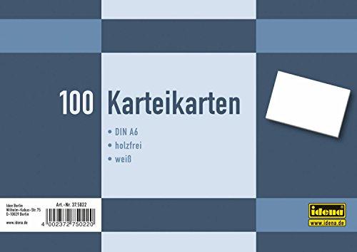 Idena 375022 - Karteikarten DIN A6, 100 Stück, 180 g/m², holzfreies Papier, eingeschweißt, blanko, weiß
