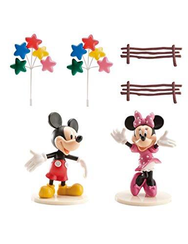 Generique - Mickey und Minnie Maus-Kuchendeko 6 Stück bunt Einheitsgröße