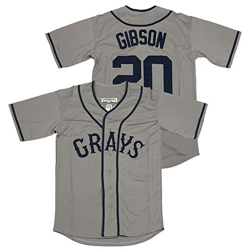 Mens #20 Josh Gibson Homestead Grays Negro National League Baseball Jersey Stitched Grey Size XXXL