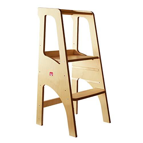 Bianconiglio Kids ® EVO 2019 Torre de aprendizaje Montessori Acabado transparente, madera vista, regulable en altura (Cocina)