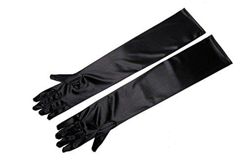 Utopiat Audrey diseñó guantes de ópera Holly Golightly largos hasta el codo para mujer (Negra)