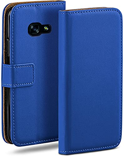moex Klapphülle für Samsung Galaxy A5 (2017) Hülle klappbar, Handyhülle mit Kartenfach, 360 Grad Schutzhülle zum klappen, Flip Hülle Book Cover, Vegan Leder Handytasche, Blau