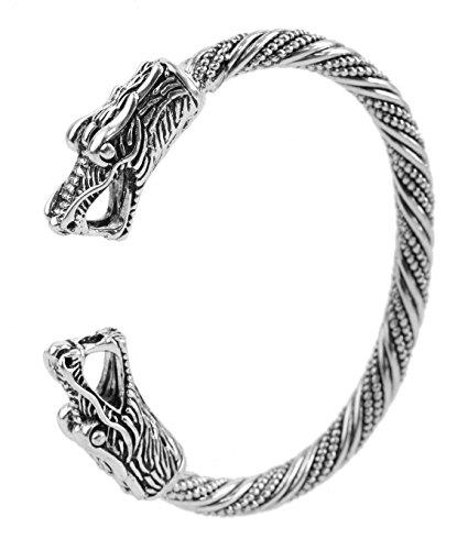 Brazalete de metal con cabeza de dragón vikingo vintage